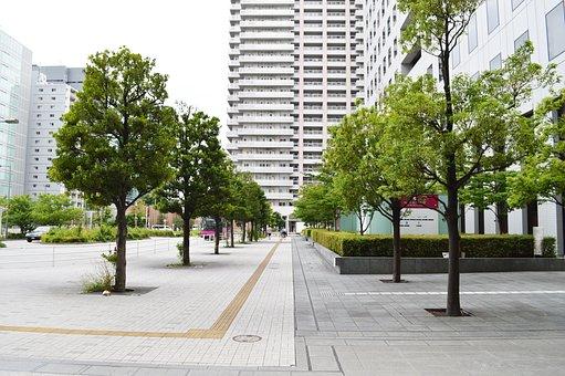 Japan, Shinagawa, Mall, Street, Trees, Green