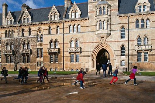 Oxford, Running, Jumping Puddles, School Children