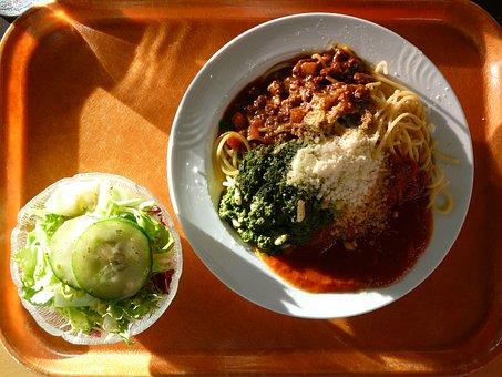Spaghetti, Eat, Court, Mensa, Tray, Simply, Unhealthy