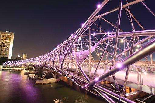 Helixbridge, Bridge, Lights, Night, Singapore