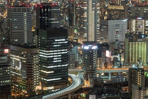Night, City, Skyscraper, Cityscape, Urban, Light