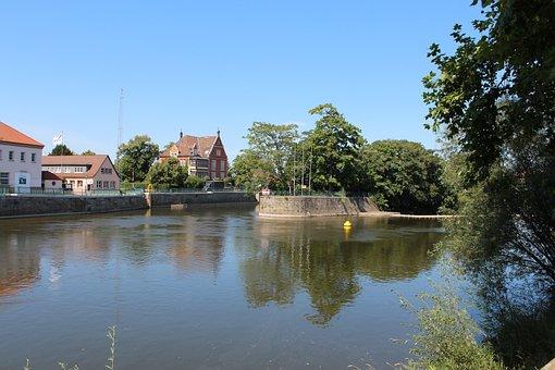 Hamelin, Weser, River, Landscape, Water