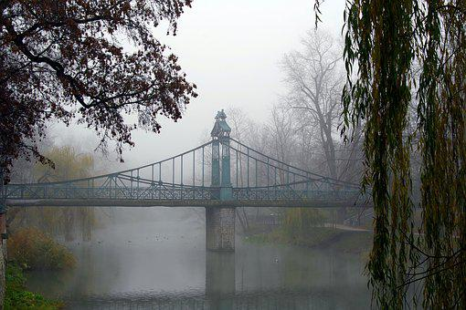 Bridge, River, The Fog, Romantic, Cool, Autumn, Willow