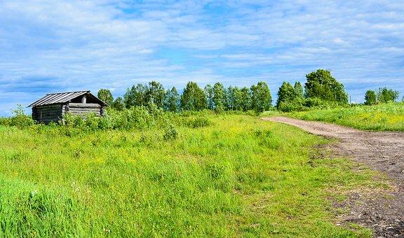 Hut, Path, Clouds, Cottage, Sky, Blue, Tree, Shadow