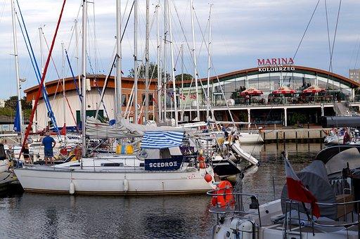 Marina, Lake, Water, Coast, Kolobrzeg, Poland, Ship