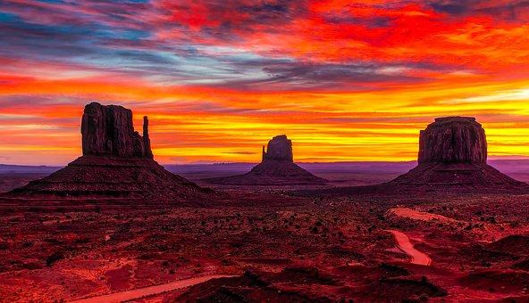 Monument Valley, Utah, Sunset, Twilight, Sky, Clouds
