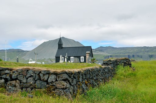 Iceland, Budakirkja, Snæfellsjökull, Church, Mountain