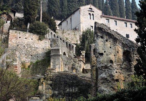 Verona, Roman Theatre, Remains, Italy, Stone, Monument