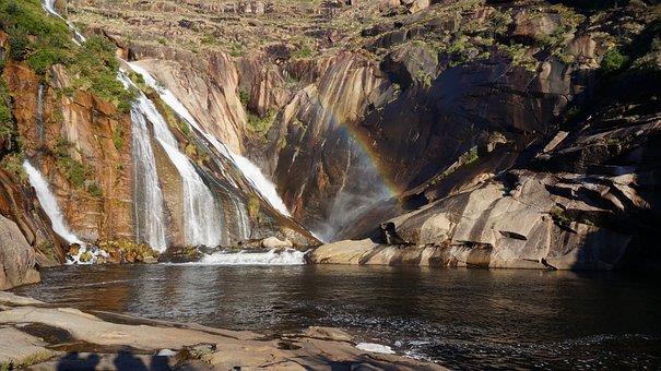 Waterfall, Fervenza Xallas, Fervenza Do ézaro, Sunset