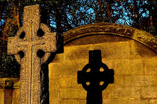 Stone, Architecture, Symbol, Cross, Sunset, Shadow
