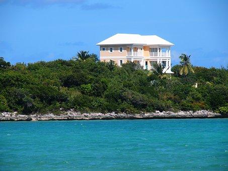 Bahamas, House, Coast, Sea, Vacation, Exuma, Ocean
