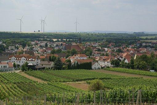 Abenheim, Germany, Village, Town, View, Buildings