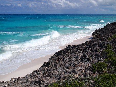 Bahamas, Coast, Sea, Waves, Surf, Ocean, Exuma, Water