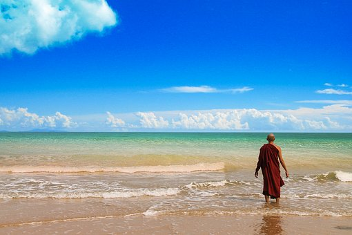 Theravada Buddhism, Monk At Beach, Beach, Peaceful