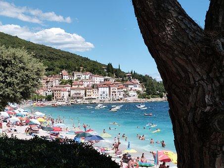 Sea, Beach, Water, Tourists, Boats, People, Bathing