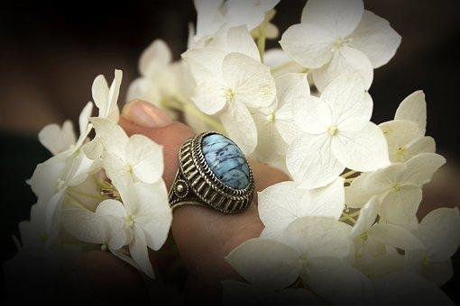Flowers, Ring, Hand, Wedding, Bouquet, Celebration
