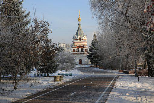 Russia, Siberia, Omsk, Winter, Western Siberia, Church