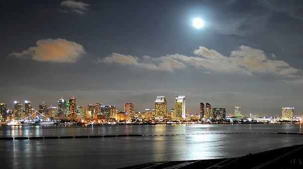 San Diego, California, City, Lights, Sky, Clouds, Moon