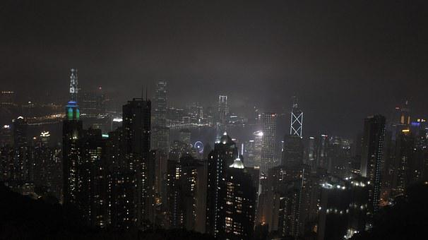 Hong Kong, Central, Night Landscape, Dark, City, Night