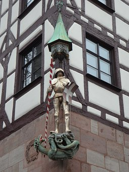 Knight, Dragon, Middle Ages, Historic Center, Facade