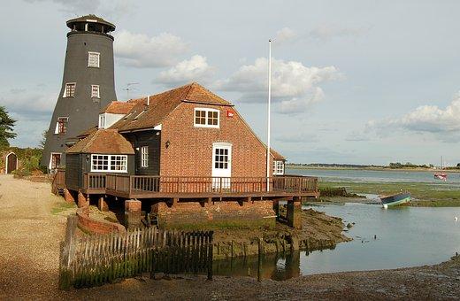 Tower, River, Emsworth, Landscape, Water, View, Scene