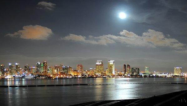 San Diego, California, Night, Evening, Moon, City