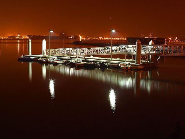 Boats, Web, Evening, Night, Lights, Long Exposure, Sea