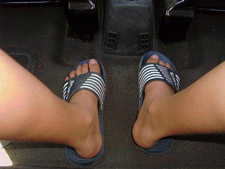 Legs, Feet, Ten, Bath Slippers, Mountain Pine, Blue