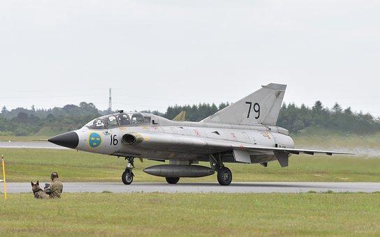 Airplane, Fighter Aircraft, Draken, J35, Saab, Airshow