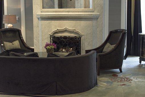 Fireplace, Chair, Sofa, Comfortable, Interior, Living