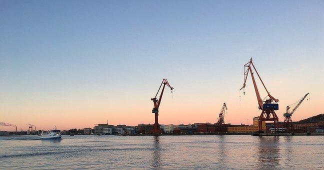 Gothenburg, Morning Sun, Port, Stone Pier