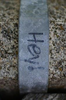 Greeting, Graffiti, Iron, Stone, Word, Saying, Welcome