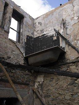 House, Ruin, Building, Old, Bath, Burnt Building, Burnt