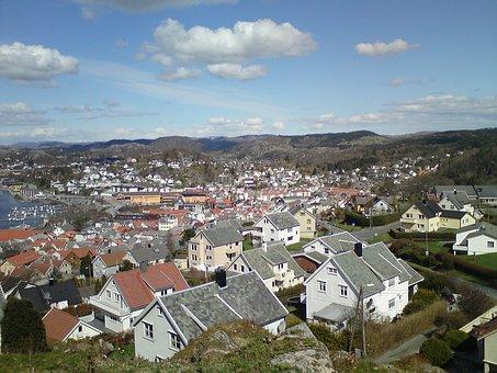 Egersund, Norway, Town, Landscape, Sky, Clouds