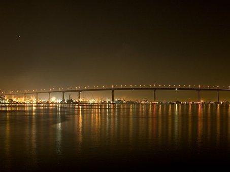 Bridge, Evening, Night, Lights, Long Exposure, Sea