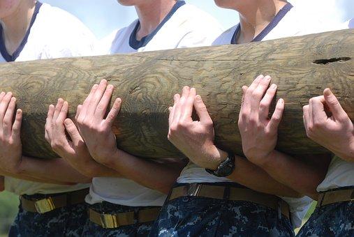 Log, Holding, Men, Workout, Exercise, Training