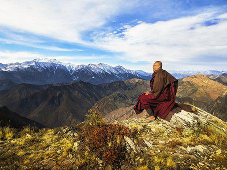 Theravada Buddhism, Monk At Mountain, Monk At Himalaya