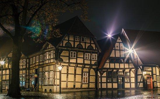 Night, Old Town, Lighting, Mood, Cobblestones