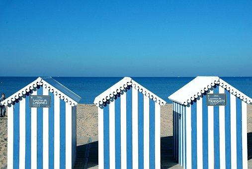 Ocean, Bathing Huts, Blue