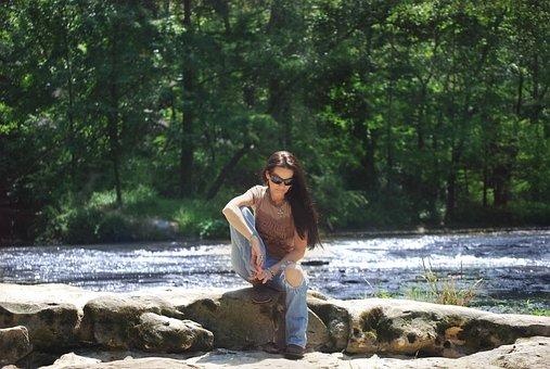 Woman, Portrait, River, Water, Rocks, Female, Brunette