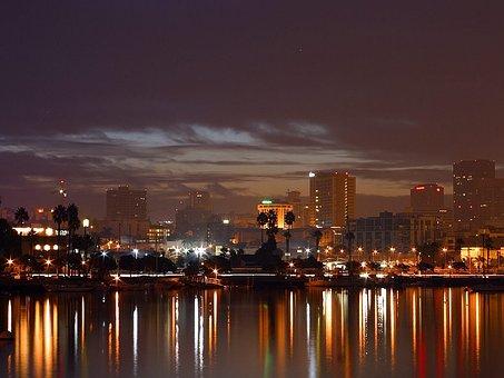 Evening, Night, Lights, Long Exposure, Sea, Port, City