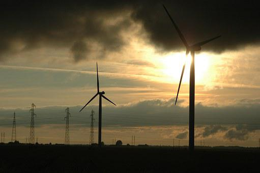 Eoliennes, Storm, Clouds, Sky, Sunset, Wind Energy