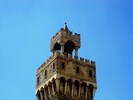 Tower, Parapet, Serated Edge, Pillars, Stone Color