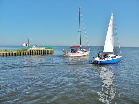 Haff, Sailing Boats, Port Exit, Ueckermünde