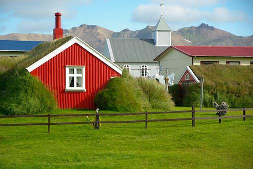 Iceland, Church, Lawn, House
