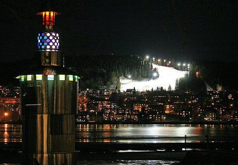 Frösön, Night, Slalombacke, Light, Night Life, City