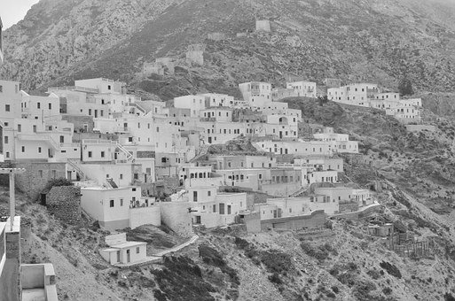 Greece, Olymbos, Greek City, Black And White, Holidays