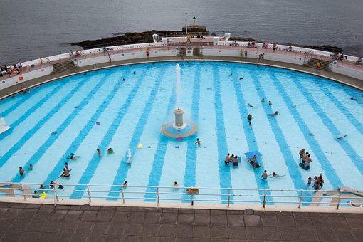 Swimming Pool, Half Round, Sea, Turquoise Blue, Lido