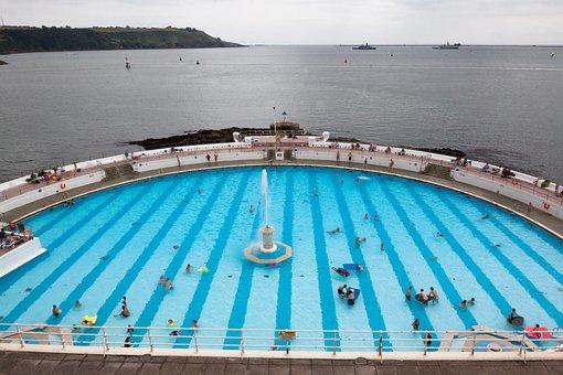 Swimming Pool, Half Round, Sea, Turquoise Blue