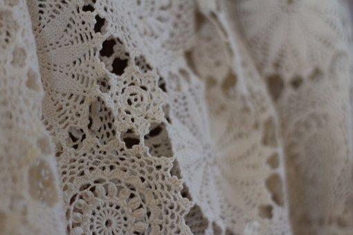 Lace, Vintage, Pretty, Antique, Beige, Handmade